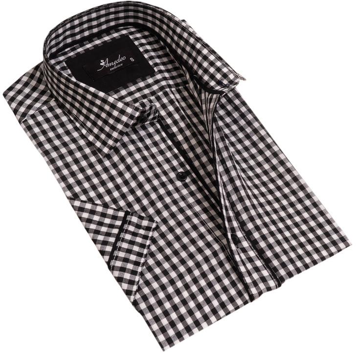 Amedeo Reversible Short Sleeve Shirt-AESS7601-Black & White Checkers