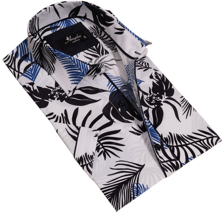 Amedeo Reversible Short Sleeve Shirt-AESS7625-White with Black and Blue Forest