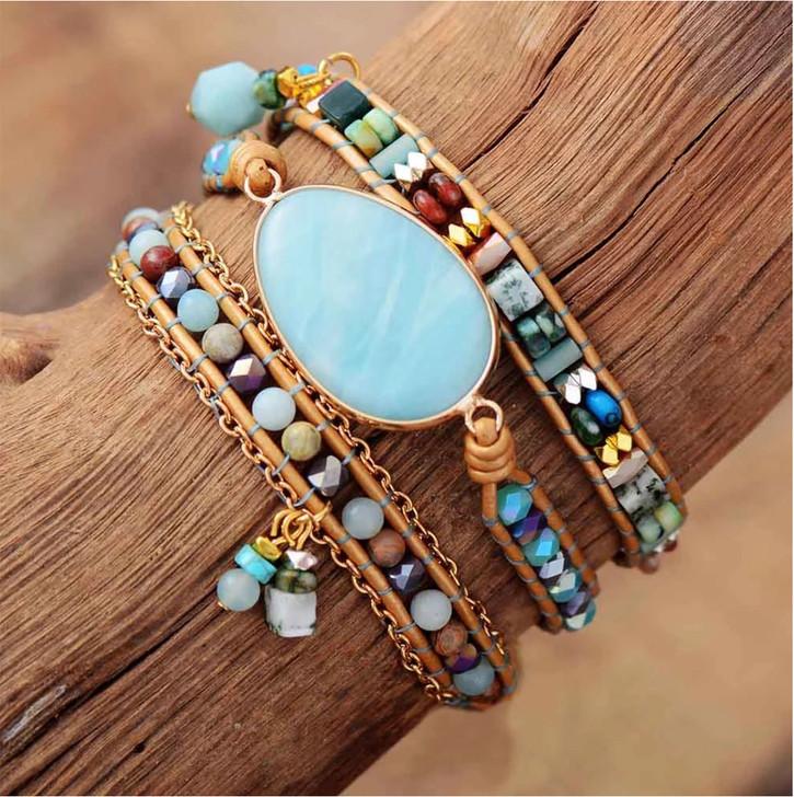 Leather & Natural Stone Beaded Wrap Bracelet with Turquoise Amazonite