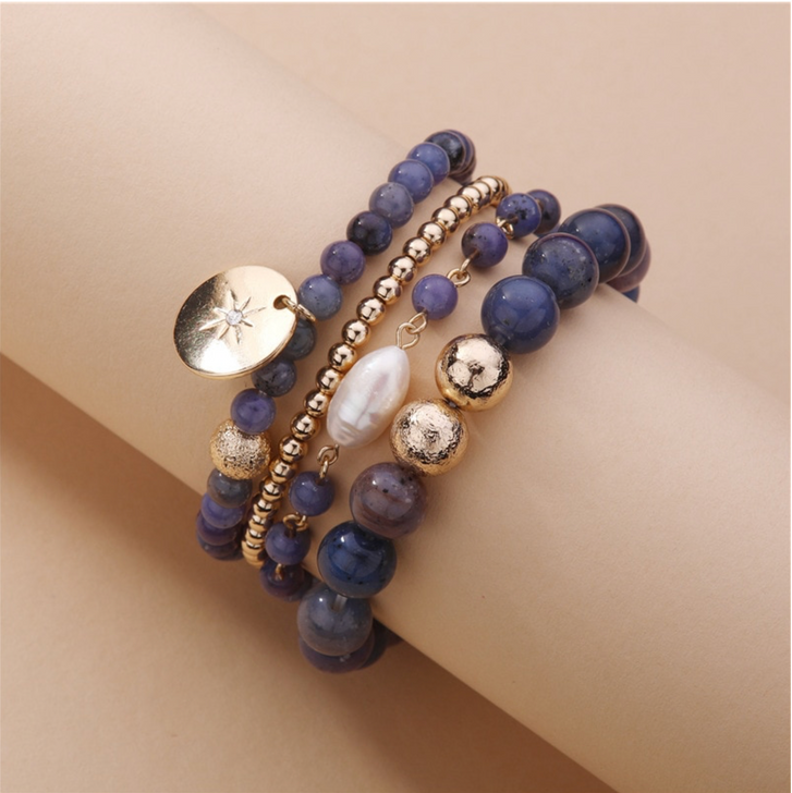 Blue & Gold tone Beaded Bracelet Set with Freshwater Pearl