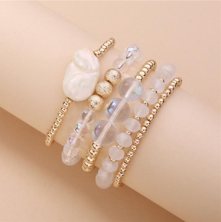 Gold & Iridescent Beaded Bracelet Set