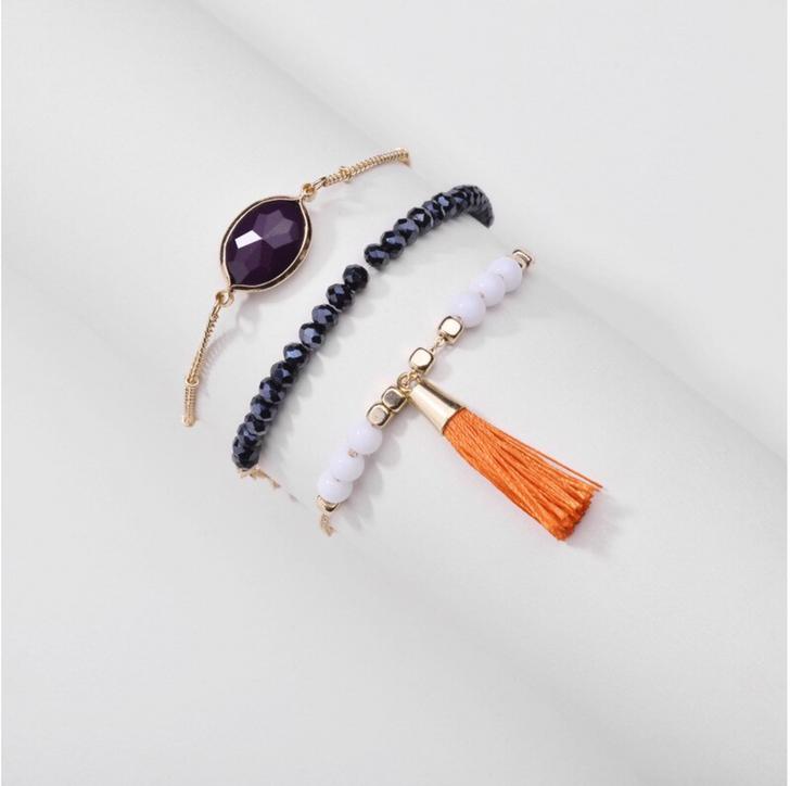 Set of 3 Navy & White Bracelets with Orange Tassel