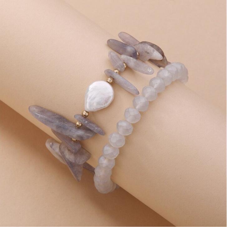 Bracelet Set of 2 Grey Kyanite Beaded Bracelet with Freshwater Pearl