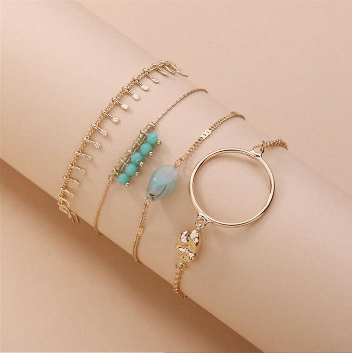 Hammered Bangle & Dainty Gold tone Bracelet Set with Turquoise Bead