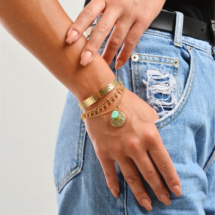 Dainty Gold & Turquoise Beaded Bracelet Set of 4