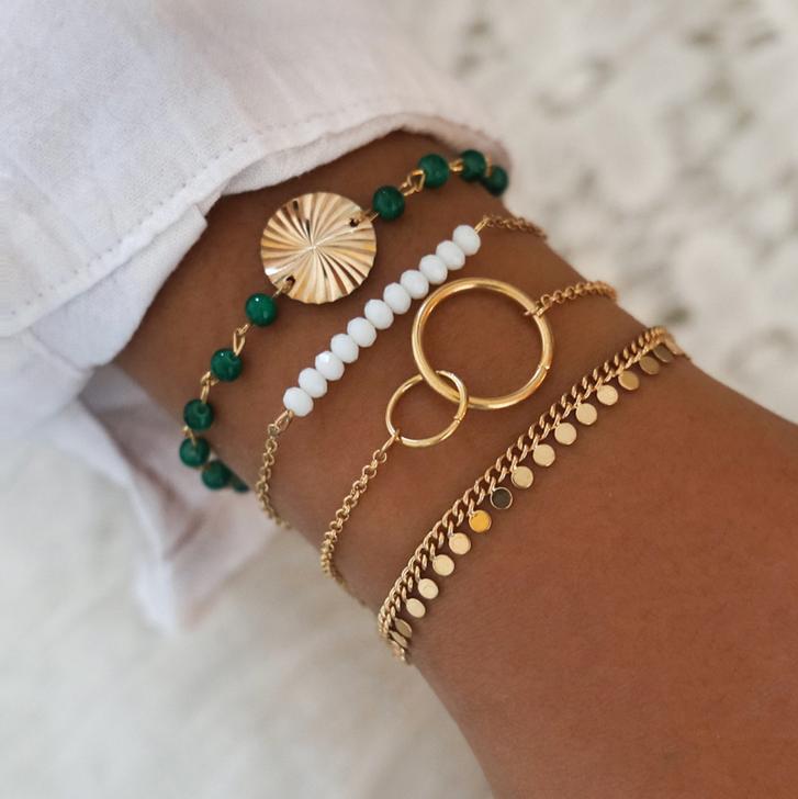 Gold tone, Green & White Bracelet Set of 4