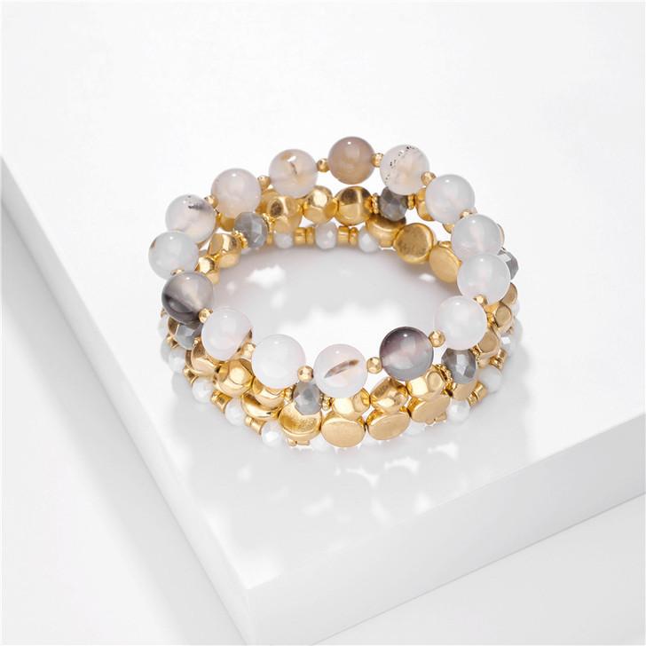 Grey & Gold tone Beaded Bracelet Set