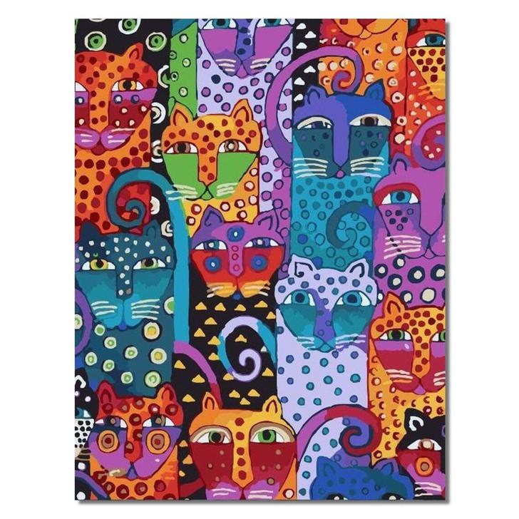 Cute Cat Colors Paint By Number Painting Set - 40x50 cm