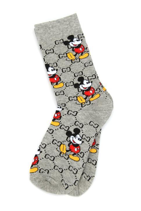 MICKEY G Jacquard Shortie Crew Socks - Grey