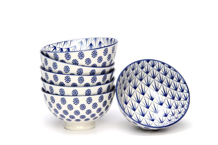 Set of 6  Blue Dots 4 Inch Stamped Kitchen Bowl