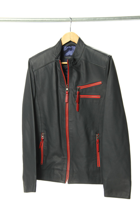 Shaun Leather Jacket in Navy Blue - E4711