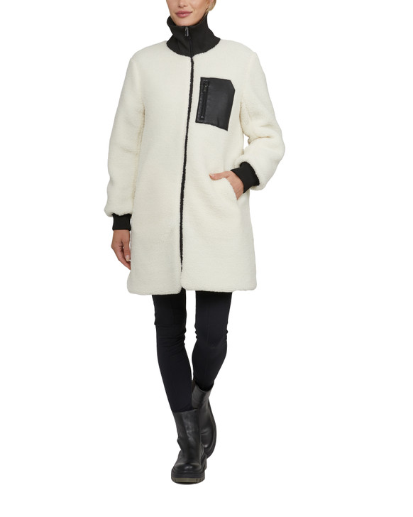 NVLT - Solid Berber coat with High Neck and Contrast Finish - Cream