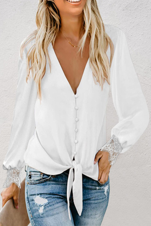 Full Button Up Blouse Top With Tie Waist & Lace Sleeve - White