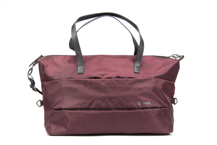 BENCH - Overniter Tote Bag with Pleated Detail - Burgundy