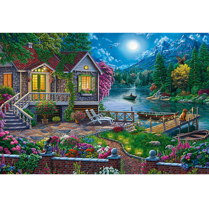 Paint By Diamond Set - House by the lake In the moonlight
