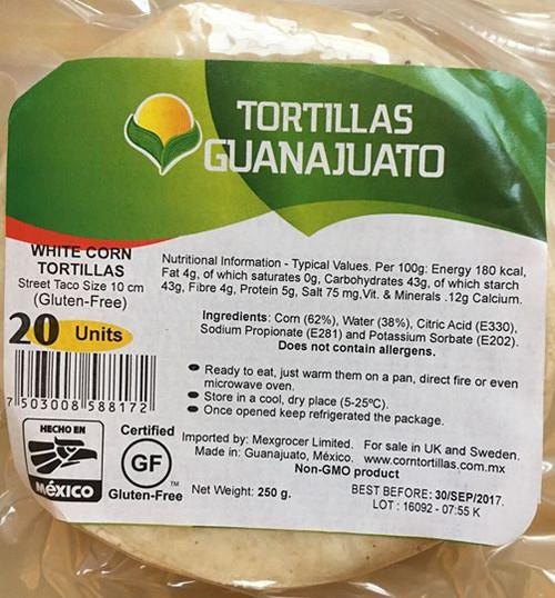 Corn Tortilla White 10 cm with 20 Pieces