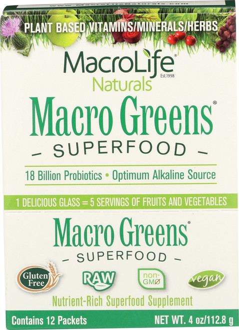 Macro Greens® Superfood Powder 12 Single Servings Packet Box