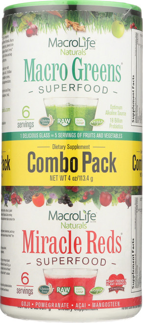 "Macro Greens® & Miracle Reds® Superfood ""Combo Pack"" Powder 6-Srv Trial/Travel Size Of Each Macro Greens & Miracle Reds Containers"