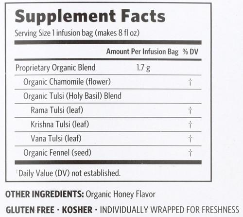 Tulsi Tea Honey Chamomile Stress-Relieving & Restorative 1.08oz 30.6 G