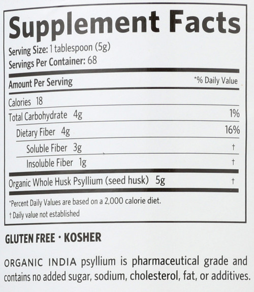Psyllium Organic Whole Husk Psyllium 100% Certified Organic Fiber 12oz 340 G