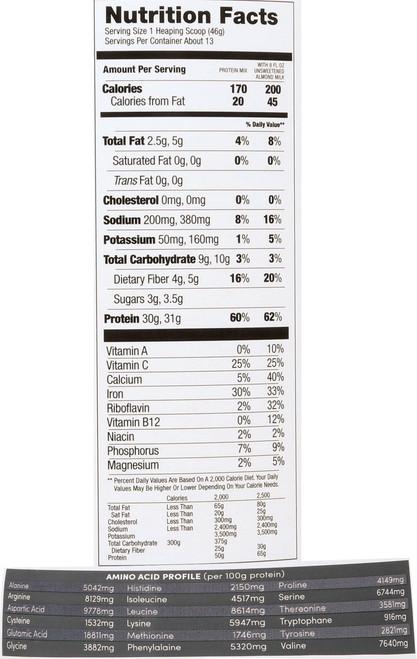 Protein Powder Mix Natural Vanilla Organic Pro 30 1.29 Lb 586 G