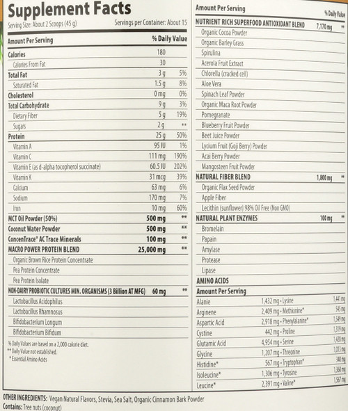 "Macromeal® ""Vegan"" Chocolate 15- Srv Container 15 Servings 23.8oz"