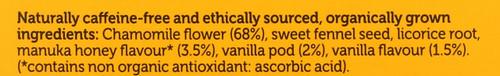 Organic Herbal Tea Chamomile, Vanilla, & Manuka Honey 20 Sachets 32 G