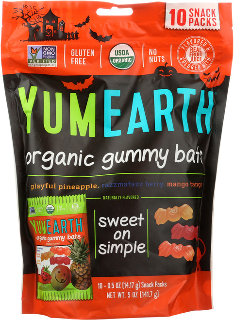 Organic Gummy Bats Pomegrante Pucker, Mango Tango, Perfectly Preach, Strawberry Smash