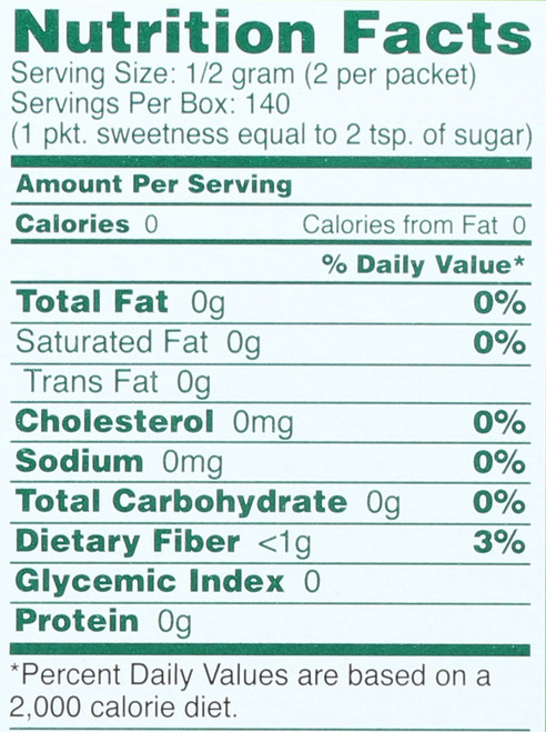 Sweetener 70 Count Box 70 Packet 2.5 Ounce