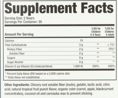 Vitamin D3 Sugar Free All Natural Fruit Flavors & Colors 60 Gummy Bears