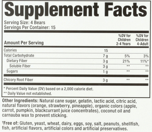 Fiber Digestive Health All Natural Fruit Flavors & Colors Promotes Digestive Health & Regularity†† 60 Gummy Bears