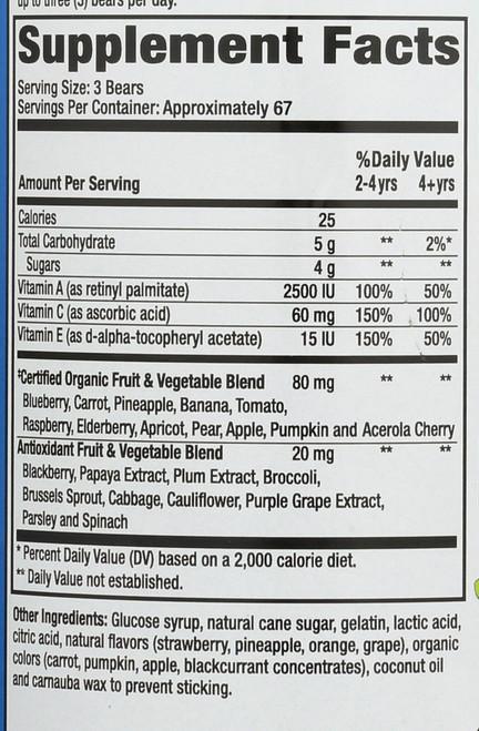 Whole Food Fruit & Veggie Value Size 200 Gummy Bears