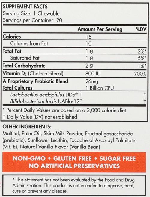 Probiotic Supplement Yummy Vanilla Kids Cubes 20 Chewable