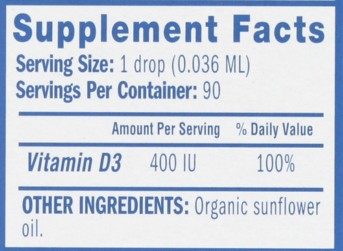 Vitamin D Organic Drops Newborn+ 90 Serving 0.11 Fl oz