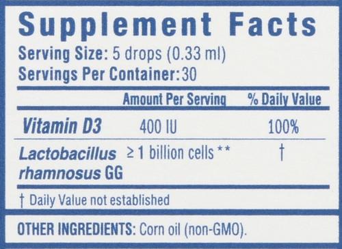 Probiotic Drops + Vitamin D 30 Servings 0.34 Fl oz