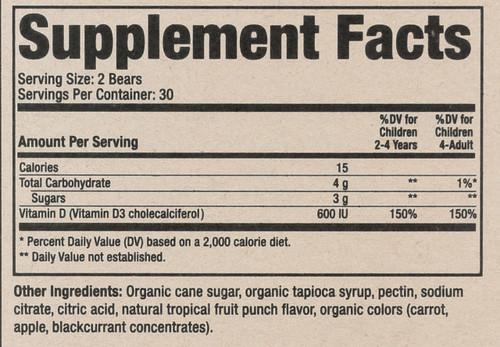 Vitamin D 3 Organic  60 Gummy Bears