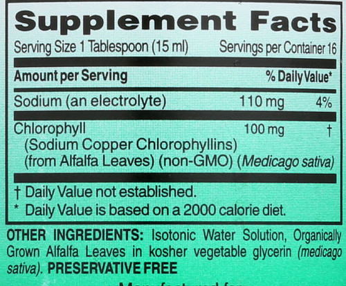 Chlorophyll 100 Mg           8 Fl oz 237 Ml