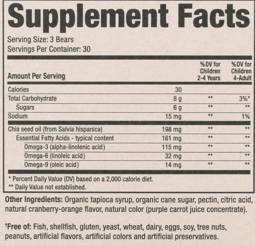 Omega -3 With Chia Seed All Natural Fruit And Flavors 90 Gummy Bears