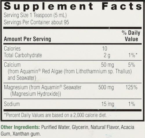 Plant Based Magnesium Red Algae & Seawater Derived 500 Mg Liquid 16 Fl oz 480 Ml