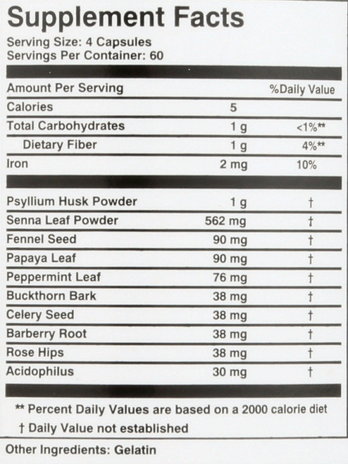 Super Colon Cleanse® Capsules With Herbs & Acidophilus 240 Capsules 60 Servings