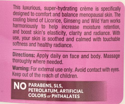 Balancing Moisturizing Cream Wild Yam Organic 113 G 4oz