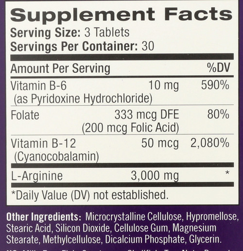 Vitamin/Supplements L-Arginine 1000Mg  90 Tablets