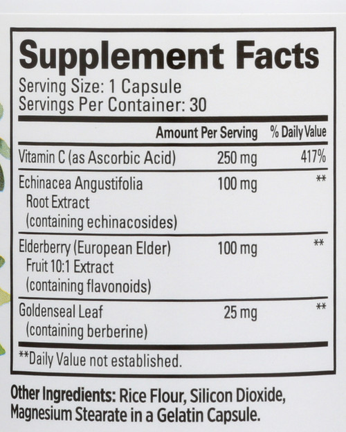 Immune Support Capsules Elderberry, Echinacea, Goldenseal Leaf, Vitamin C Dietary Supplement 30 Capsules