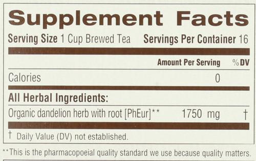 Bagged Tea Dandelion Leaf & Root Naturally Caffeine Free Herbal Tea 16 Tea Bag 0.99oz