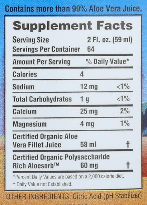 Aloe Vera Juice Inner Fillet Preservative Free 128 Fluid Ounce 3.785 Liter