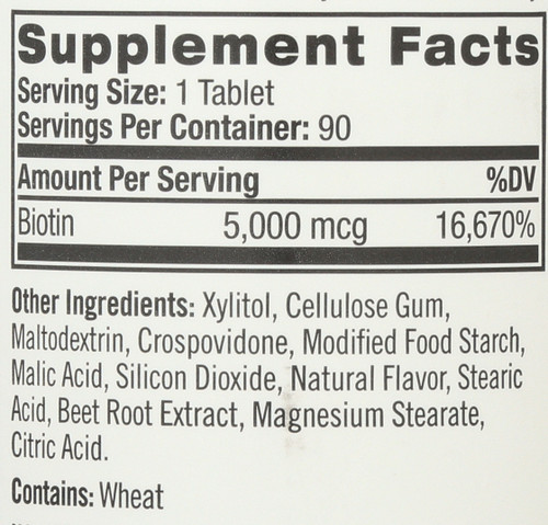 Vitamin/Supplements Biotin 5000Mcg  Fast Dissolve 90 Tablets