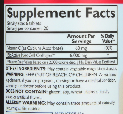 Super Collagen + C Hair, Skin, Nails, Joints & Bones Dietary Supplement 120 Tablet
