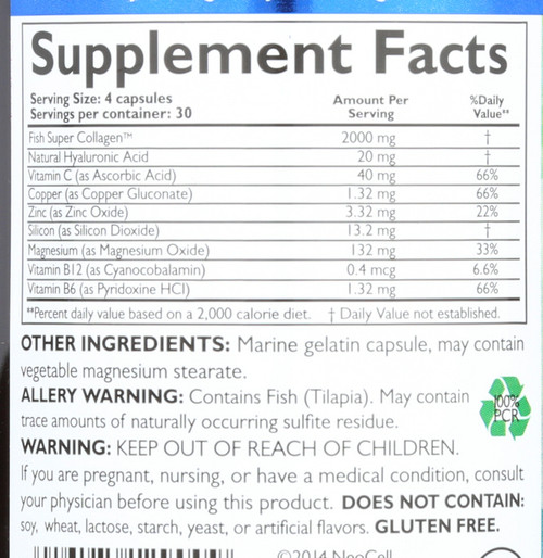 Fish Collagen + Ha Dietary Supplement 120 Capsules