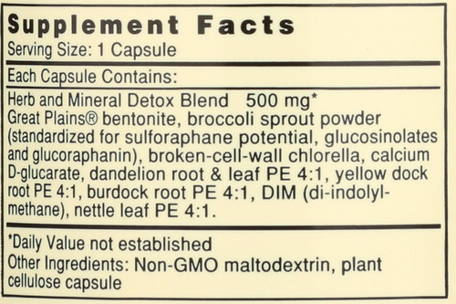 Great Plains® Bentonite Herbal Detox Dietary Supplement 60 Capsules