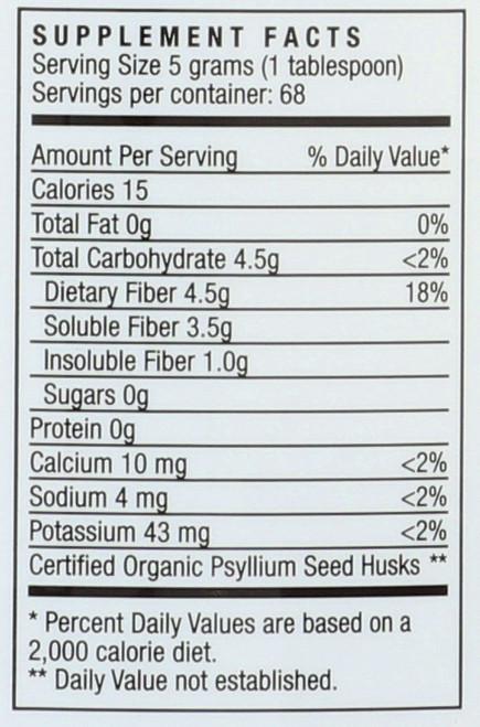 Organic Psyllium Whole Husks  12 Ounce 340 Gram